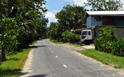The streets of Vaiaku township, Funafuti Atoll, Tuvalu