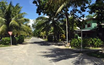 The streets of Vaiaku township, Funafuti Atoll, Tuvalu