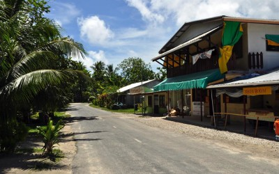 Some commercial buildings along the streets of Vaiaku township, Funafuti Atoll, Tuvalu