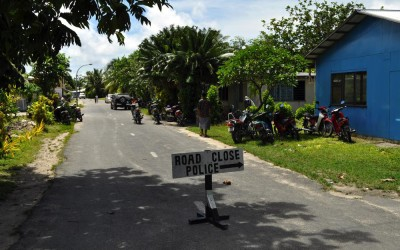Road closed for Sunday church, Fongafale Island, Funafuti Atoll, Tuvalu