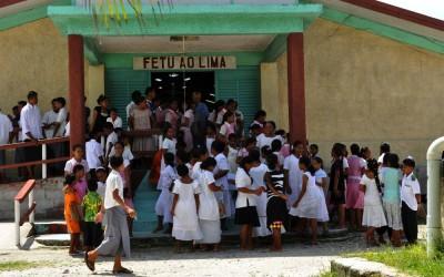 Attending church on Sunday, Funafuti Atoll, Tuvalu