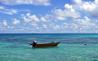 Boat moored on the lagoon, Funafuti Atoll, Tuvalu
