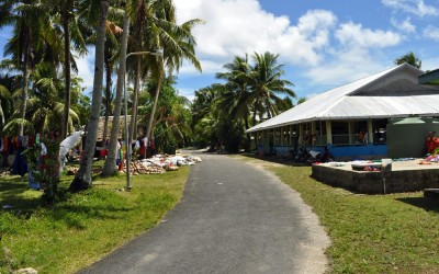 A maneapa (meeting place) in Vaiaku township, Funafuti Atoll, Tuvalu
