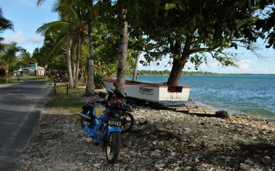 Bikes and boat on the streets of Funafuti