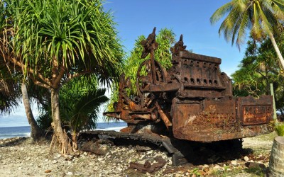 Rusty remains of an American earth mover, remaining from WW2 days, Fongafale Island, Funafuti Atoll, Tuvalu
