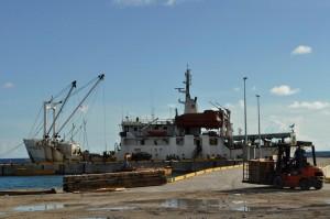 The Nivaga II, Tuvalu's supply ship to other atolls, at Funafuti port, Tuvalu