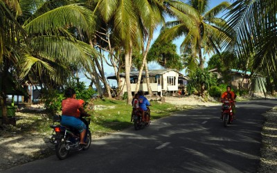 Traffic on the roads of Fongafale Island, Funafuti Atoll, Tuvalu