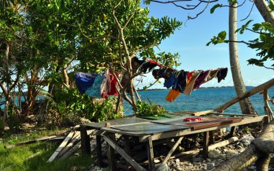 Hanging out the washing, Funafuti Atoll