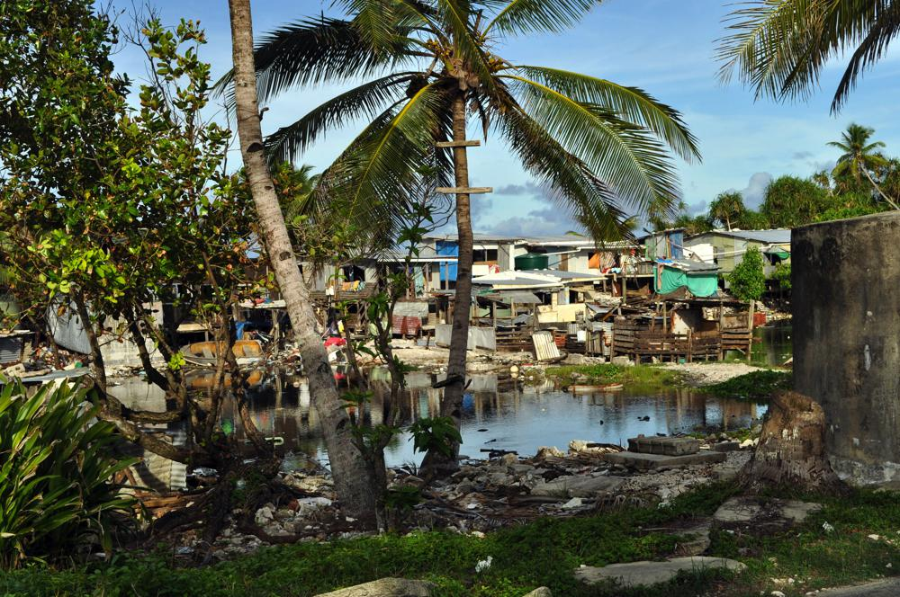 Houses around the borrow pits, Funafuti Atoll, Tuvalu