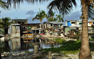 Houses around the borrow pits, Funafuti Atoll, Tuvalu.