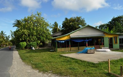 A maneapa (meeting place) on Fongafale Island, Funafuti Atoll, Tuvalu