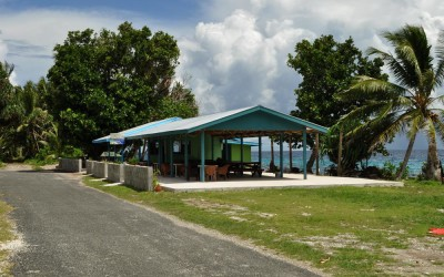 Cafe located at the end of the road, western end of Fongafale Island, Funafuti Atoll, Tuvalu