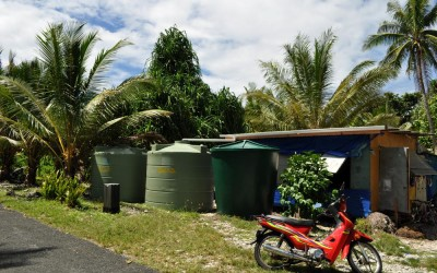 European Union donated water tanks, Funafuti Atoll, Tuvalu