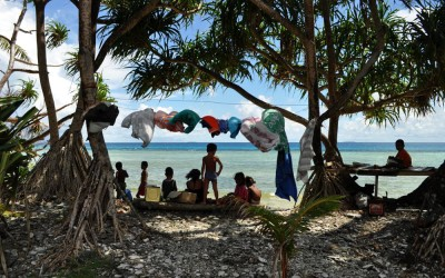 Hanging out under the washing line, Funafuti Atoll, Tuvalu