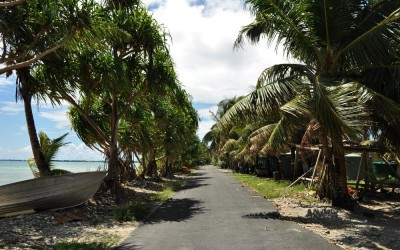 The road along Fongafale Island, Funafuti Atoll, Tuvalu