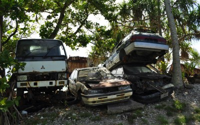 How to dispose of rubbish on a tiny island? Old cars, Funafuti Atoll, Tuvalu
