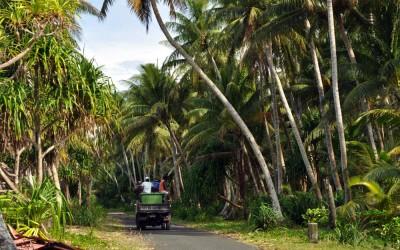 The rubbish truck on its way to the tip, Funafuti Atoll, Tuvalu