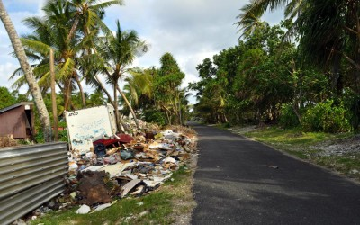 How does a tiny nation with little land dispose of its rubbish? Roadside in Fonagale Island, Tuvalu