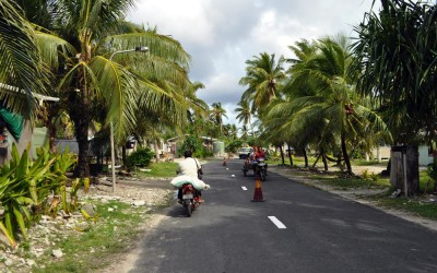 The streets of Vaiaku, Funafuti Atoll, Tuvalu