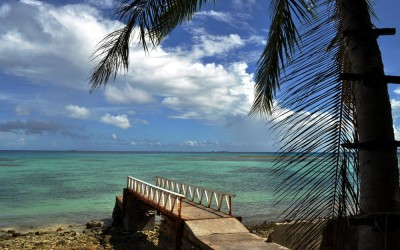 Low tide at jetty outside Vaiaku Lagi Hotel, Funafuti, Tuvalu