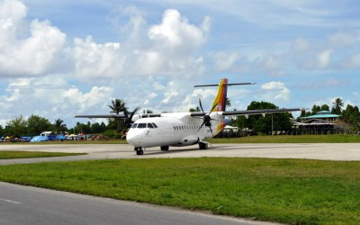 The Air Pacific ATR42 from Suva arriving at Funafuti International Airport, Tuvalu