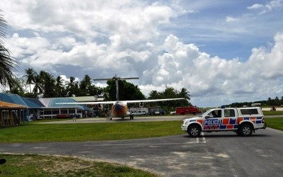 Plane at Funafuti International Airport terminal