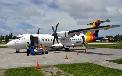 About to board the ATR42 back to Suva - Funafuti International Airport