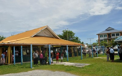 The crowd gathers to wave farewell, Funafuti International Airport, Tuvalu, to greet new arrivals