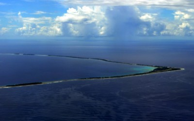 Fongafale Island and Funafuti Atoll from the departing plane. Last glimpse of Tuvalu before setting south towards Suva