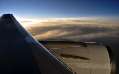 Sunset from a 767 over the Pacific Ocean