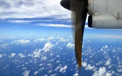 Flying north over to ocean, destination Tuvalu