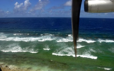 Over the breakers on the reef, about to land in Funafuti Atoll