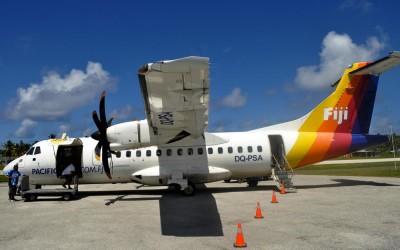 Unloading the ATR42 from Suva at Funafuti International Airport