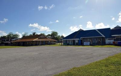 Funafuti International Airport terminal (right) and Maneapa (left), Tuvalu