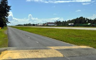 The road running alongside the runway, Fongafale Island, Funafuti Atoll, Tuvalu