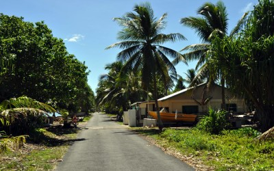 Main road running west of Vaiaku township, along Fongafale Island, Funafuti Atoll, Tuvalu