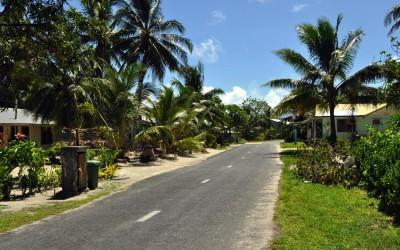 The streets of Vaiaku township, Fongafale Island, Funafuti Atoll, Tuvalu