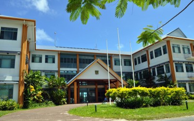 Government administration building, Funafuti Atoll, Tuvalu. This is the largest building in all of Tuvalu.