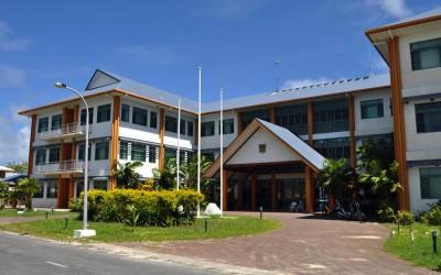 Government administration building, Funafuti Atoll, Tuvalu.