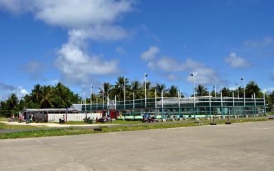 Sports centre along northern end of runway, Funafuti Atoll, Tuvalu