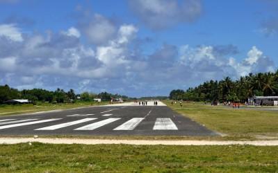 Sports teams training along the runway, Funafuti Atoll, Tuvalu