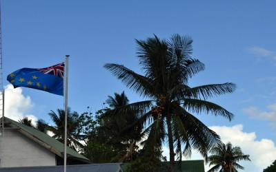 Tuvaluan flag flying over the police station, Vaiaku, Funafuti Atoll, Tuvalu