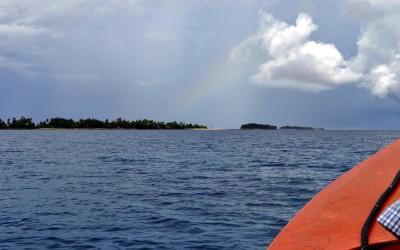 Faint rainbow over Funafuti Lagoon, Tuvalu