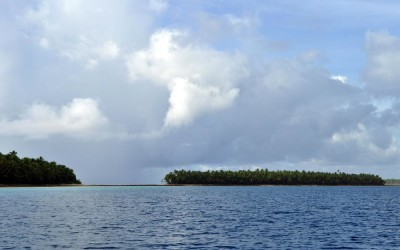 Travelling down the lagoon past the islands of Funafuti Atoll, Tuvalu