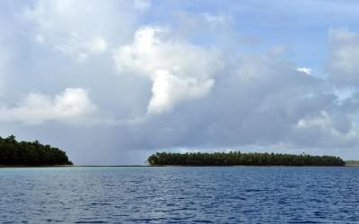 Travelling down the lagoon past the islands of Funafuti Atoll, Tuvalu