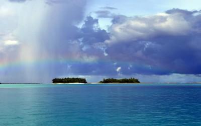 Rainbow across Funafuti Lagoon, Tuvalu - looking across to the conservation area