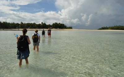 Wading ashore on Funafala Island, Tuvalui