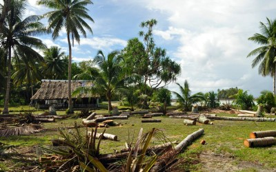 The village on Funafala Island (apparently a recent storm had knocked over trees), Funafuti Atoll, Tuvalu