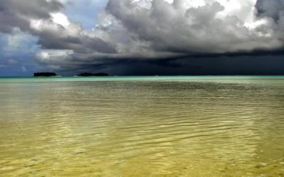 Storm passing Funafala Island, across Funafuti Lagoon, Tuvalu