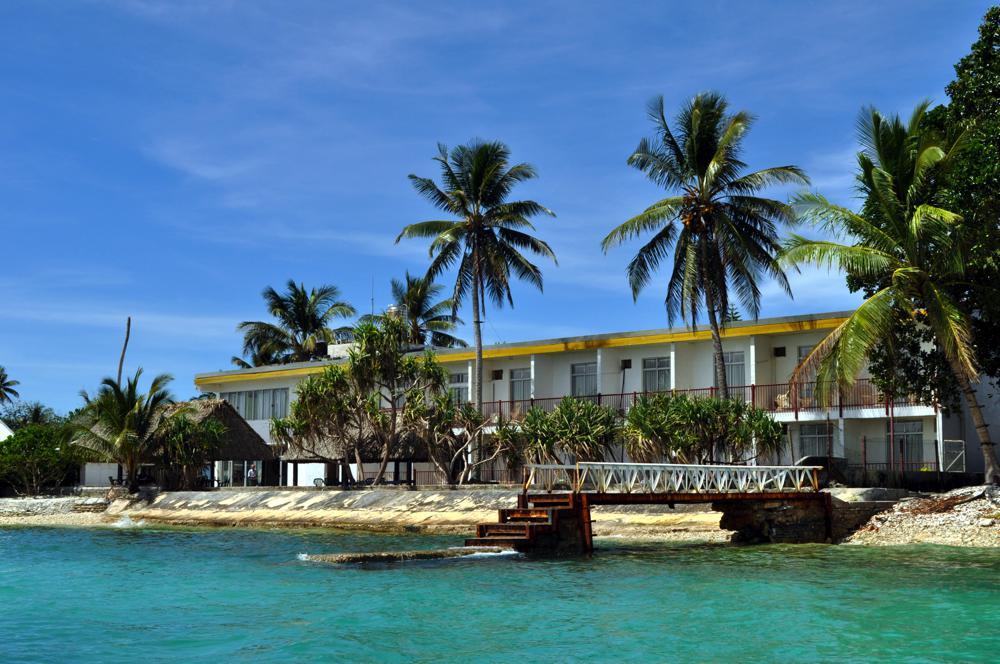 Vaiaku Lagi Hotel from the lagoon, Funafuti, Tuvalu